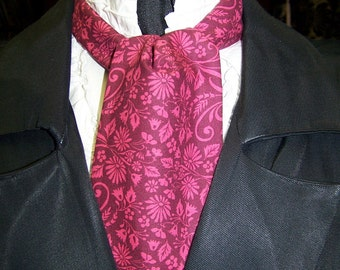 "Ascot or Carvat Burgundy floral cotton print fabric 4"" x 52"" Mens Historial Wedding, cravat tie SALE"