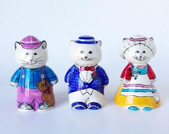 Vintage Ceramic Cat figurines, Set of three Boy Girl Cats