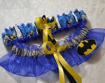 NEW Handmade wedding garters keepsake and toss BATMAN wedding garter set on Royal Blue BIGGER logo