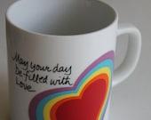 Vintage Avon Rainbow HEART Love mug Valentines Day Easter 1983