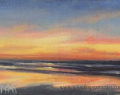 Neskowin Sunset, 5x7 original oil painting