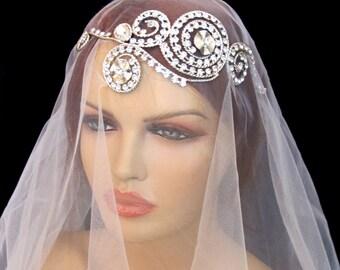 Rhinestone Bridal  Headband Grecian Headpiece Tiara Greek Inspiration