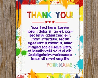 Custom Printable ART PARTY Thank You Card using your info