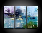 Extra Large Abstract Painting Modern Painting Wall Art Modern Art Original on Canvas by THE RAW CANVAS 45 x 30 Blue Brown Green Purple