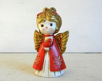 Holt Howard Christmas Angel | Mid Century Modern | Angel Figurine | Vintage Christmas | Red Bird