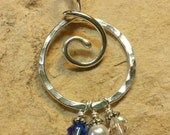 Unique Thick Sterling Silver Organic Folded Spiral Charm Holder Pendant for Your Own Charms - Antiqued or Shiny - Handmade to Order