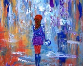 on SALE Original Oil Painting Abstract Girl Woman Going Shopping Art on Canvas 12x12