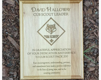 Cub Scout Plaque- Leader Award Laser Engraved 8 x 10