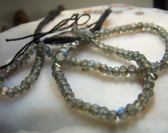 Labradorite beads - faceted rondelle 3.5 to 4  mm - center drilled - briolette bead - full 13 inch strand or individual gray stone JJLL4