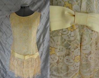 60s Dress //  Vintage 1960's Pae Yellow Lace Dress with Drop Waist Faux Flapper Style Size M  metal zipper