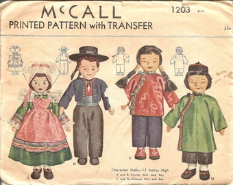 1940s Doll Pattern - McCall 1203 French Doll Pattern - Chinese Doll Pattern - 1940s Character Dolls Pattern UNCUT - Antique  Sewing Pattern