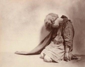 Sad Child Vintage Photo.  Digital Download.  Soft, beautiful moving image. Girl, portrait, art, monochrome, pixie, #15P/EAP
