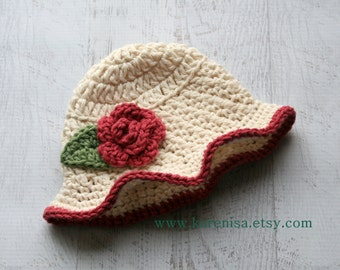 Infant Sun hat with Flower, Baby Girl Sun Hat, Crochet Sun Hat, Crochet baby Sun Hat, Sun Bonnet, 0-3 Months, READY To Ship