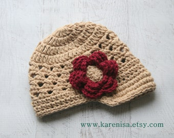 Girls Crochet Hat, Crochet Baby Visor Hat, Girls Crochet Hat, Baby Girl Visor Hat, Tan and Burgundy, MADE To Order in your size request