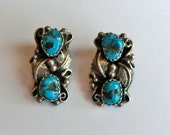 Vintage Sterling Turquoise Southwest Earrings Feather Design Center Clip Earrings