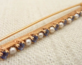 Antique Bippart & Co. Victorian 14K Gold Blue Topaz and Seed Pearl Bar Pin