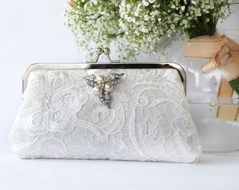 Ivory Lace Bridal Clutch with Pearl Brooch 8-inch L'HERITAGE