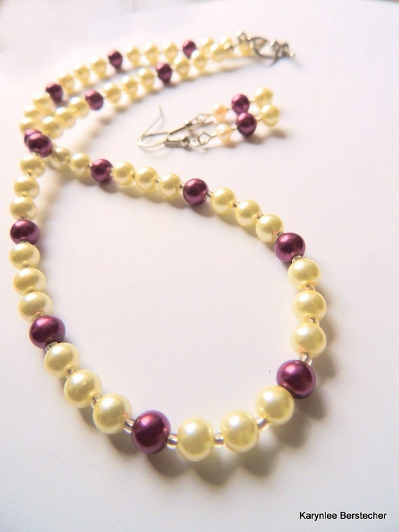 Pearl Gift Set, Burgundy and Cream, Jewelry Gift Set, Handcrafted Jewelry, Jewelry Gift Set, Gift for Her, Gift under 30