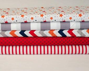 SALE...1/2 YARD BUNDLE Medium Chevron Stars & Stripes Riley Blake Designer Cotton Quilt Fabric Kids Boys Red White Blue Orange Grey