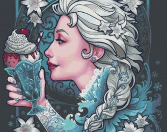 Cross stitch kit, Ice Queen, Medusa Dollmaker Art, Counted Cross Stitch, Ice cream cross stitch, Fairy Tale Cross Stitch, Modern Art Stitch