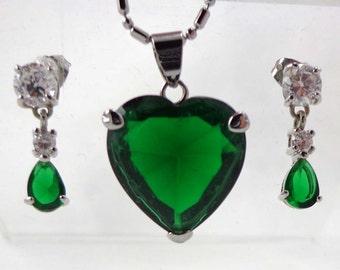 Rhinestone Necklace Earrings Emerald Green Silver Signed 18k GF Pierced Pendant 573