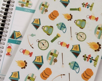 Camping Stickers, Fits Erin Condren Planner, Stickers, Planner Stickers, Plum Paper, Stickers, Vacation Stickers