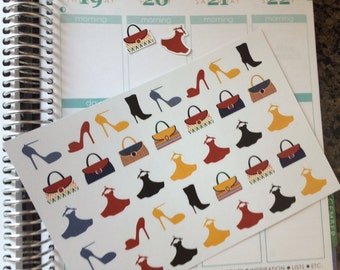 Planner Stickers, Shoes Dresses and Purses, Fits Erin Condren Planner, Dress Up Sickers, Stickers