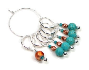 Locking Removable Stitch Markers Crochet Row Markers Knitting Supplies DIY Crafts Turquoise Copper