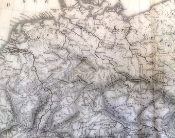 1851 Vintage Map of Central Europe Rivers and Mountains - Antique Map - Old Map of Europe - Black and White Map