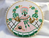 Southern Bell Hoop Art, Shabby Chic Wall Hanging, Pink Dress Southern Bell Wall Hanging, Upcycle, Hoop Art