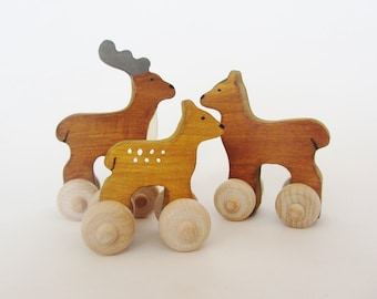 Wood Toy Deer Family set/ Mini Waldorf heirloom