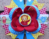 Daniel Tiger's Neighborhood Inspired Custom Boutique Hair Bow for Birthday Party or Anytime