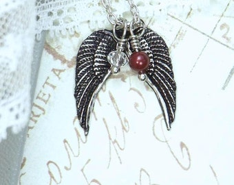 Angel Wing Necklace Black Wing Jewelry Gothic Wing Necklace Black Goth Jewelry Angel Wing Jewelry