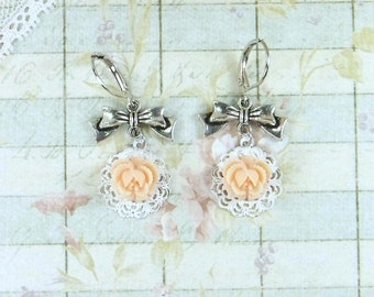 Orange Flower Dangle Earrings Orange Rose Earrings Rose Dangle Earrings Shabby Chic Earrings