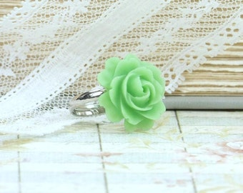 Green Flower Ring Resin Rose Ring Green Rose Ring Rose Cabochon Ring Adjustable Ring Green Floral Ring