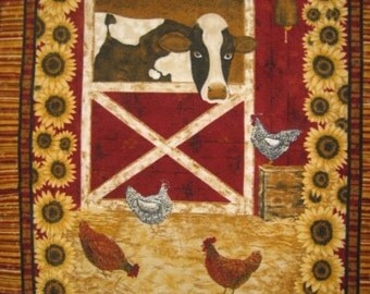 "Cow fleece blanket Barn Farm Chickens 59"" long X 48"" wide handmade by FleeceAndFabricCom Very Lightweight"