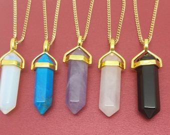 Crystal Point Necklace Hexagon Chakra Prism Healing Pendant crystal gemstone on Gold Plated chain