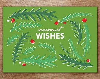 Printable Christmas Card - Instant Download - Green Branches PDF Christmas Card - Warmest Wishes Christmas Card Download - DIY Card