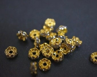 18K Gold Plated Rhinestone Spacers Curved Edges Rondelle Beads - 5mm - 20 pcs