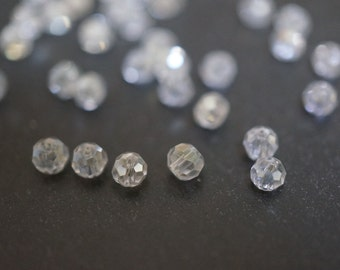 Clear AB Faceted Clear Rondelle Round Beads - 3mm - 30 pcs