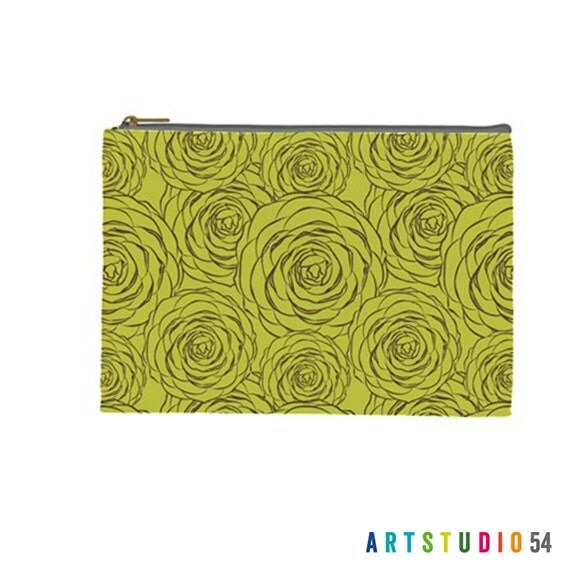 "Flower Pattern on a Pouch, Make Up, Cosmetic Case Travel Bag - Lime Green - 9"" X 6"" -  Large -  Made by artstudio54"