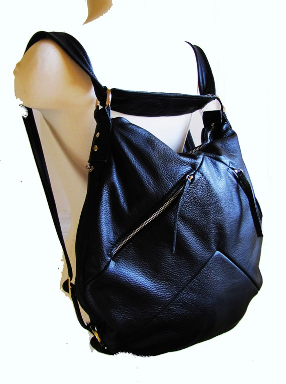 Black Leather Bucket Bag Horse shoe shaped purse Convertible