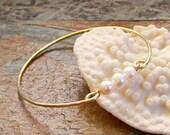 Pearl Bangle - Yellow Brass - Bed Brass - German Silver - Copper - Pearl Bracelet - Custom Bangle Bracelet - Made to Order