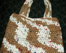 Brown/red/white plarn tote bag