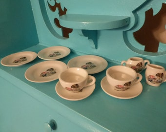 Vintage Childs China Tea Set Japan Girl  w Dog Incomplete Replacements