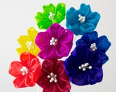 Rainbow Sakura Cherry Blossom Tsumami Kanzashi Silk Flowers Hair Stick Pin Red Orange Yellow Green Turquoise Blue Purple