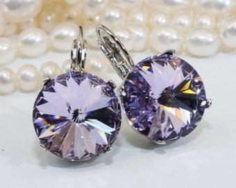 Purple Drop Earrings Violet Sarovski Crystal Earrings Purple Large Crystal Purple Bridesmaids Violet wedding,14mm,Silver finish,Violet,SE106