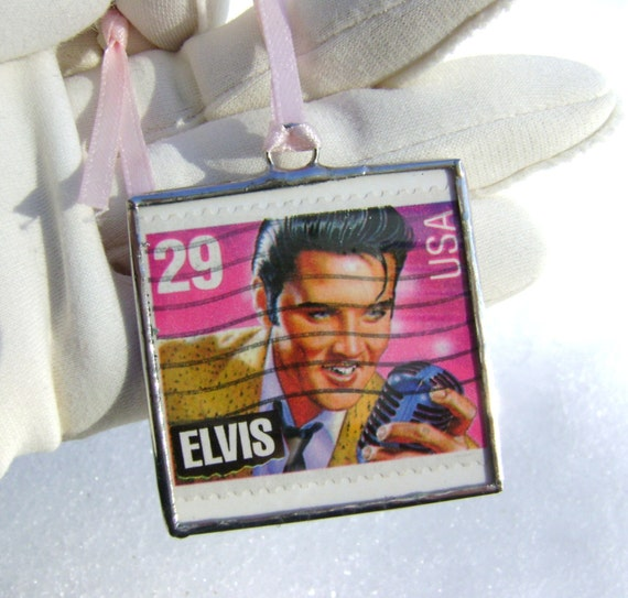 Elvis Presley Ornament Blue Christmas Legends Hollywood Entertainers Mothers Day Birthday Yule Vintage Postage Stamp Glass Ornament Easter