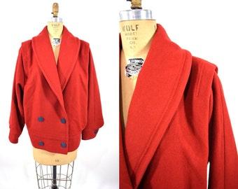 1980s jacket vintage 80s red oversize batwing avant garde jacket L/XL