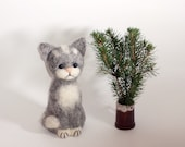 "Gray Cute Cat   5 1/2 "", Needle Felted Miniature, OOAK, gray, white, wool"